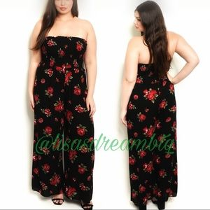 Coming Soon! Black Floral Strapless Jumpsuit